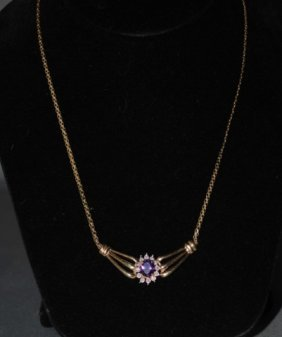 6: 14K Gold Amethyst and Diamond Necklace