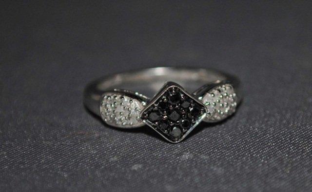 7: 14K White Gold Black and White Diamond Ring
