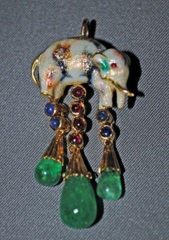 8: Enameled 18K Gold Elephant Form Pendant