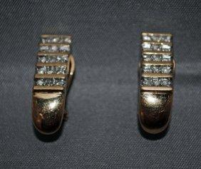 Pair Of 14K Gold Diamond Earclips
