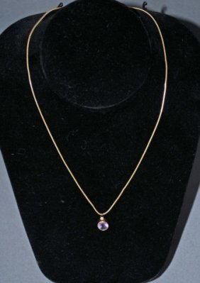 14K Gold Amethyst And Diamond Pendant On Chain