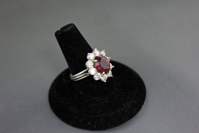 15: Platinum Ruby and Diamond Cocktail Ring