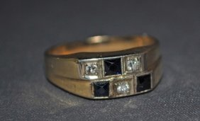 16: Men's 14K Gold Sapphire and Diamond Ring