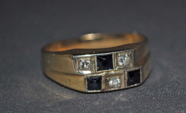 16: Men's 14K Gold Sapphire and Diamond Ring