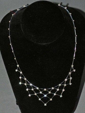 17: 18K White Gold Diamond Bib Necklace