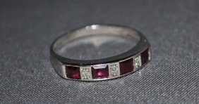 21: 14K White Gold Ruby and Diamond Band