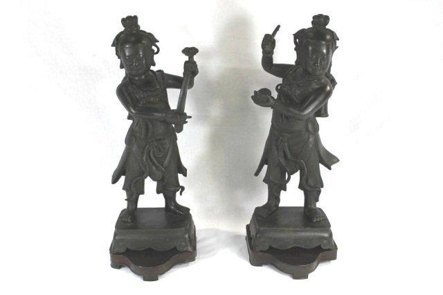 130: Pair of Chinese Bronze Standing Figures
