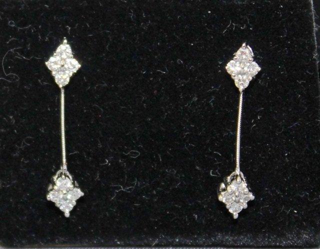 2: Pair of 18K White Gold Diamond Earrings
