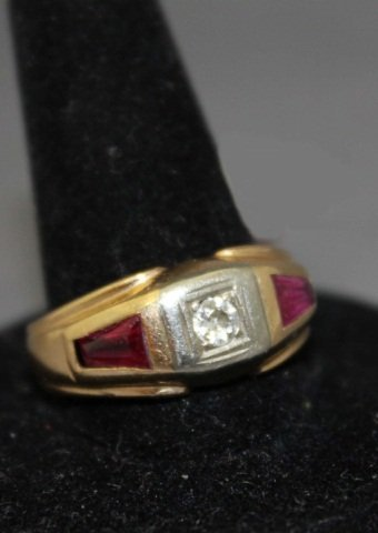 13: Men's 14K Gold Ruby and Diamond Ring