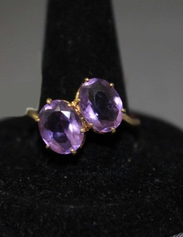 17: 14K Gold Double Amethyst Ring
