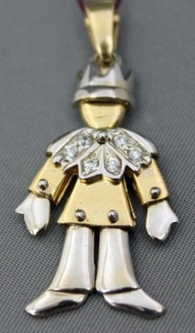 21: 18K Two-Tone Gold Jester Form Pendant