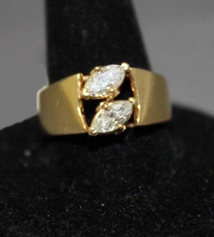 23: 14K Gold Double Diamond Ring