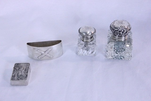 13: Two Inkwells, Match Holder, Napkin Ring