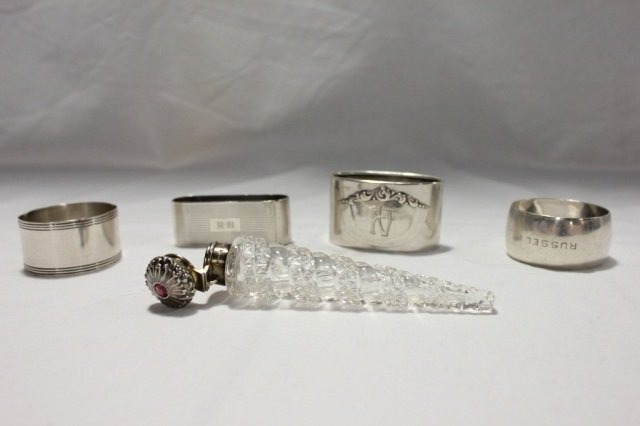 23: Sterling & Crystal Scent Bottle and Napkin Rings