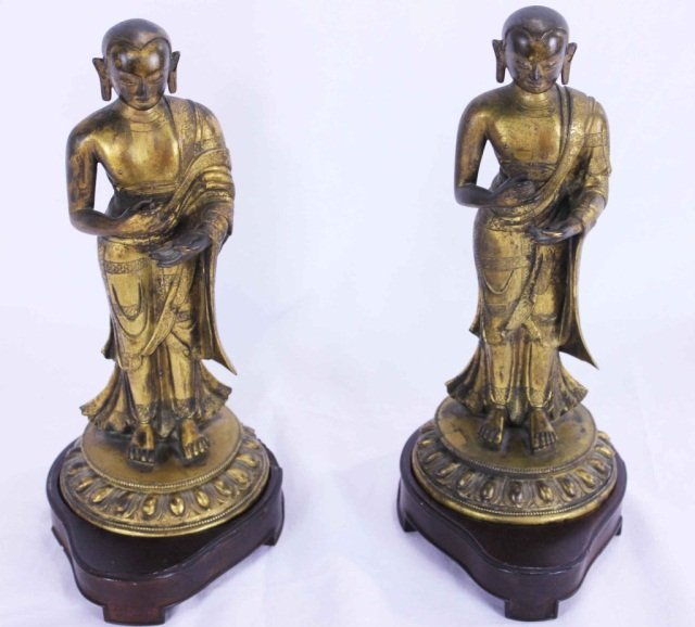 78: Pair of Chinese Bronze Standing Figures