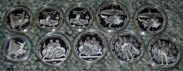 4: 10 Russian XXII Olympics Silver Coins