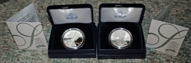 10: 2 2008 American Eagle One Ounce Proof Silver Coins