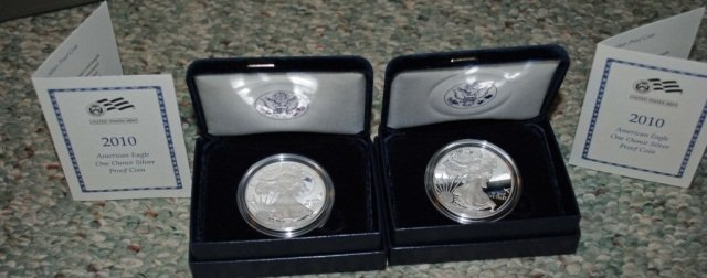 11: 2 2010 American Eagle One Ounce Proof Silver Coins