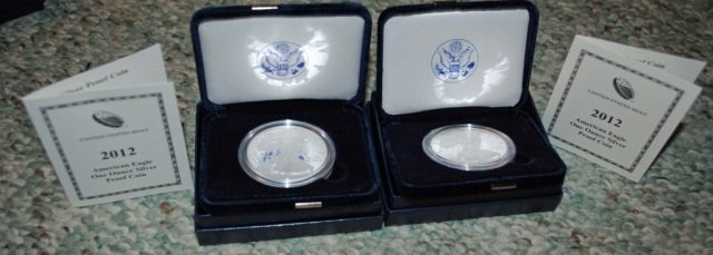 12: 2 2012 American Eagle One Ounce Proof Silver Coins