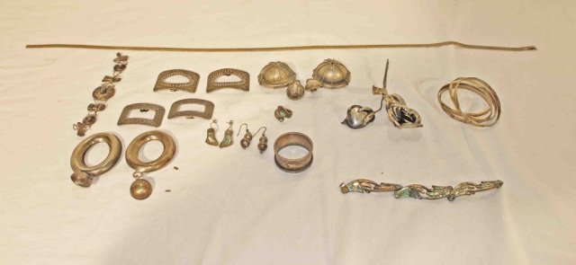 15: Collection of Metal and Silver Jewelry