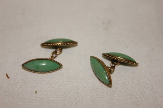 17: Pair of Gold Hardstone Double-Sided Cufflinks