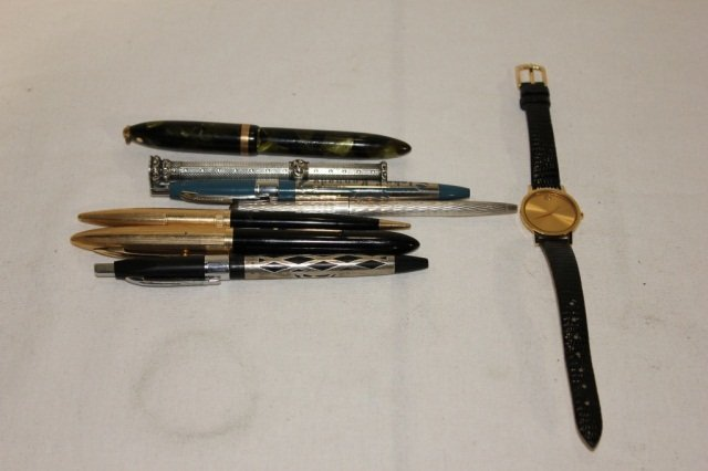 18: Miscellaneous Group of Pens and Movado Wristwatch