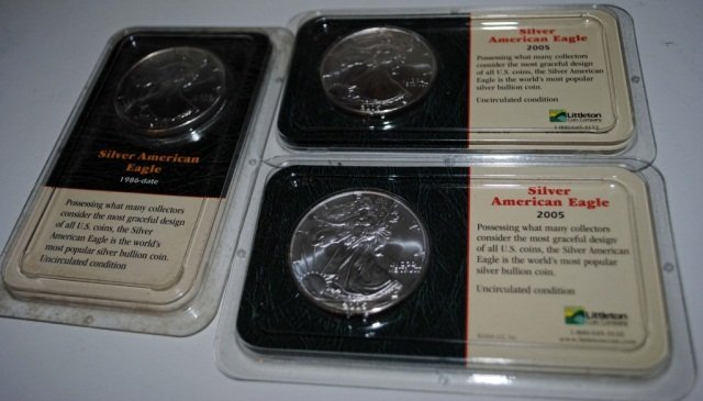 22: 3 Silver American Eagle One Ounce Silver Coins