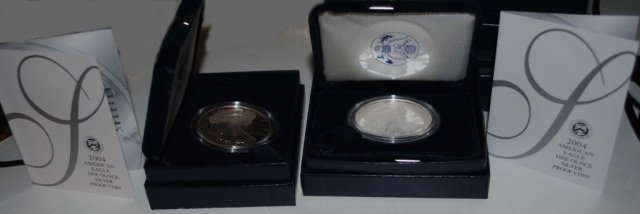 24: 2 2004 American Eagle One Ounce Proof Silver Coins