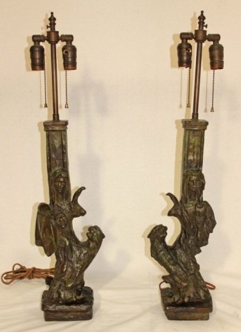 131: Pair of Bronze Table Lamps style Diego Giacometti