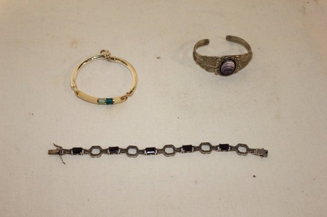 2: 3 Sterling and Stone Mounted Bracelets