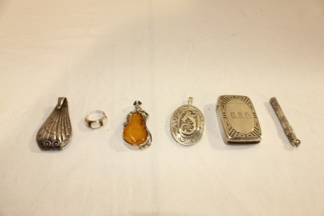 5: Group of 6 Sterling and Silver Mounted Articles
