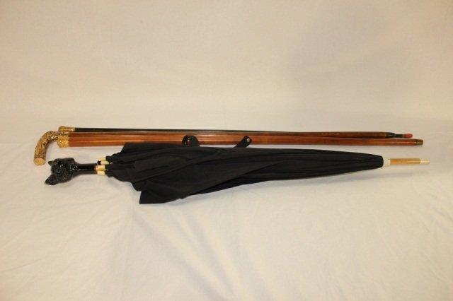 14: 3 Wooden Walking Sticks & 19th Century Umbrella