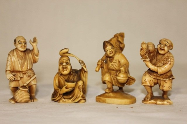 22: Group of 4 Ivory Carved Figures