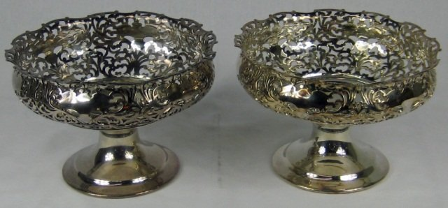 24: Pair of Silver Plated Compotes