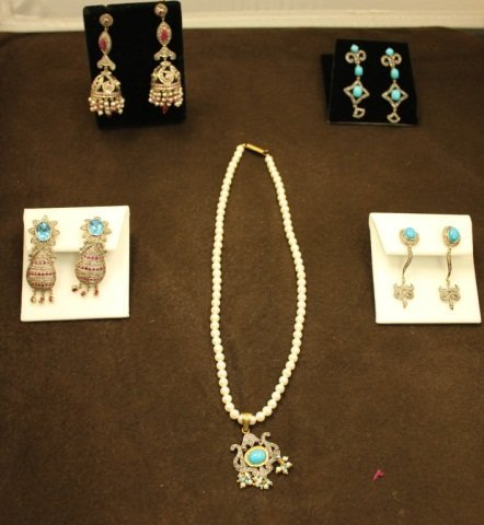 4 Pairs of Sterling Earrings & Pearl Necklace