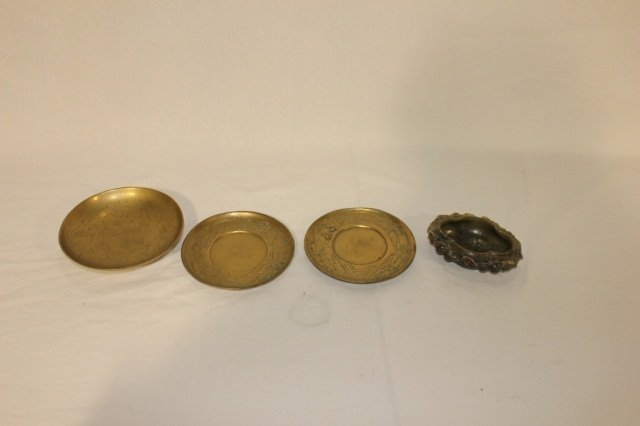 3 Chinese Metal Articles and Soapstone Dish
