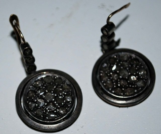 Pair Silver Topped Gold Old Mine Diamond Earrings
