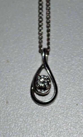 14K White Gold Diamond Pendant on Chain