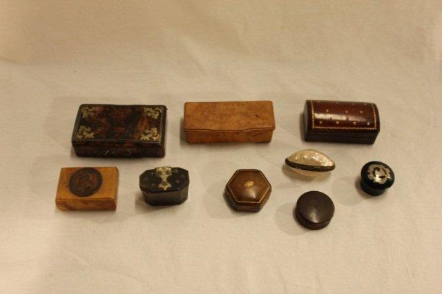 9 Assorted Tortoiseshell and Wood Boxes
