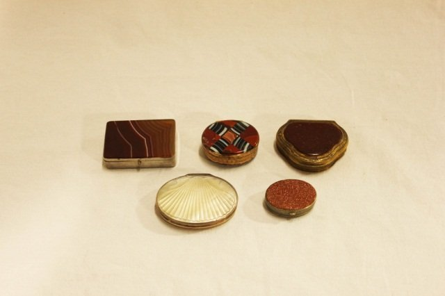 5 Agate and Mother of Pearl Mounted Boxes