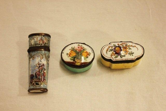 2 Antique Enamel Boxes and Etui