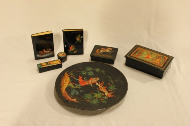 6 Assorted Russian Lacquer Boxes and Plate