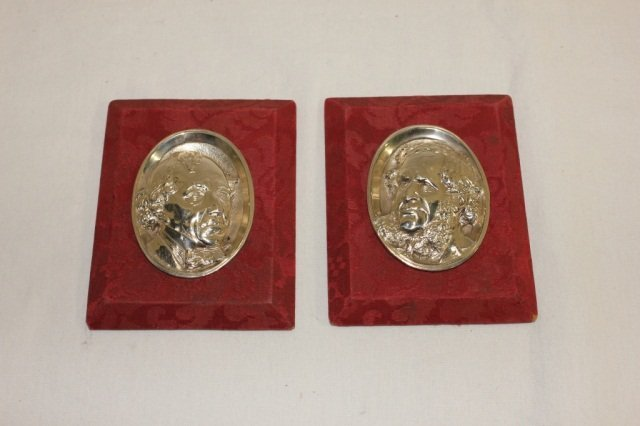 Pair of Oval Silver Plated Plaques