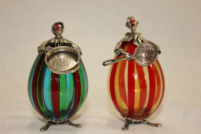 Pair of Italian Glass and Silver Figures