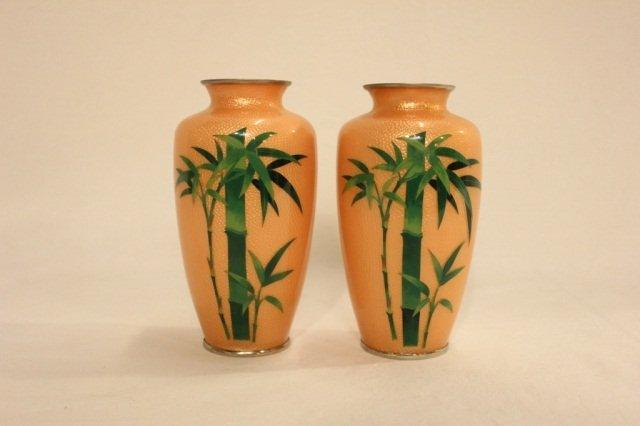 2 Tan Cloisonne Vases