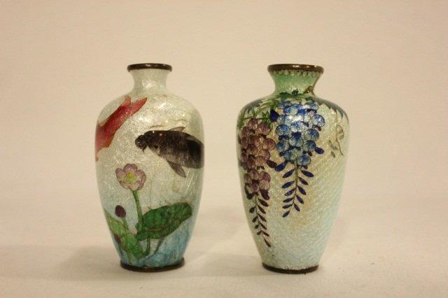 2 Small Cloisonne Vases