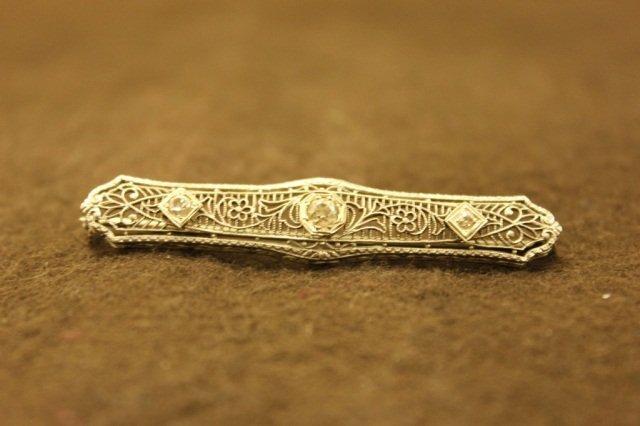 14K White Gold Bar Pin