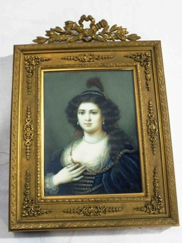 Antique 19th Century Ivory Miniature Woman