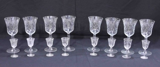 8 Etched Water Goblets & 8 Etched Cordial Glasses
