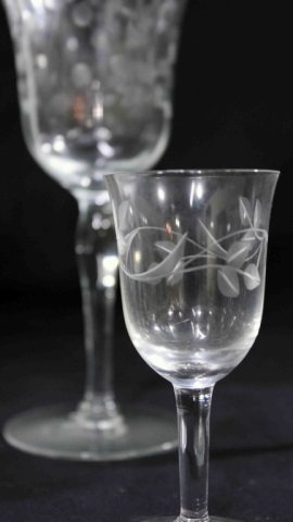 8 Etched Water Goblets & 8 Etched Cordial Glasses - 4